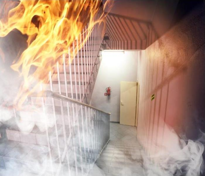 fire and smoke in stairwell of building
